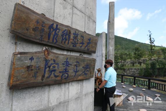 마스크를 착용한 한 관광객이 5일 한국제주노자예술관을 방문하고 있다.